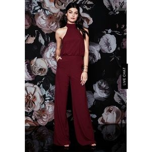 NWOT Lulu's wine red jumpsuit size small
